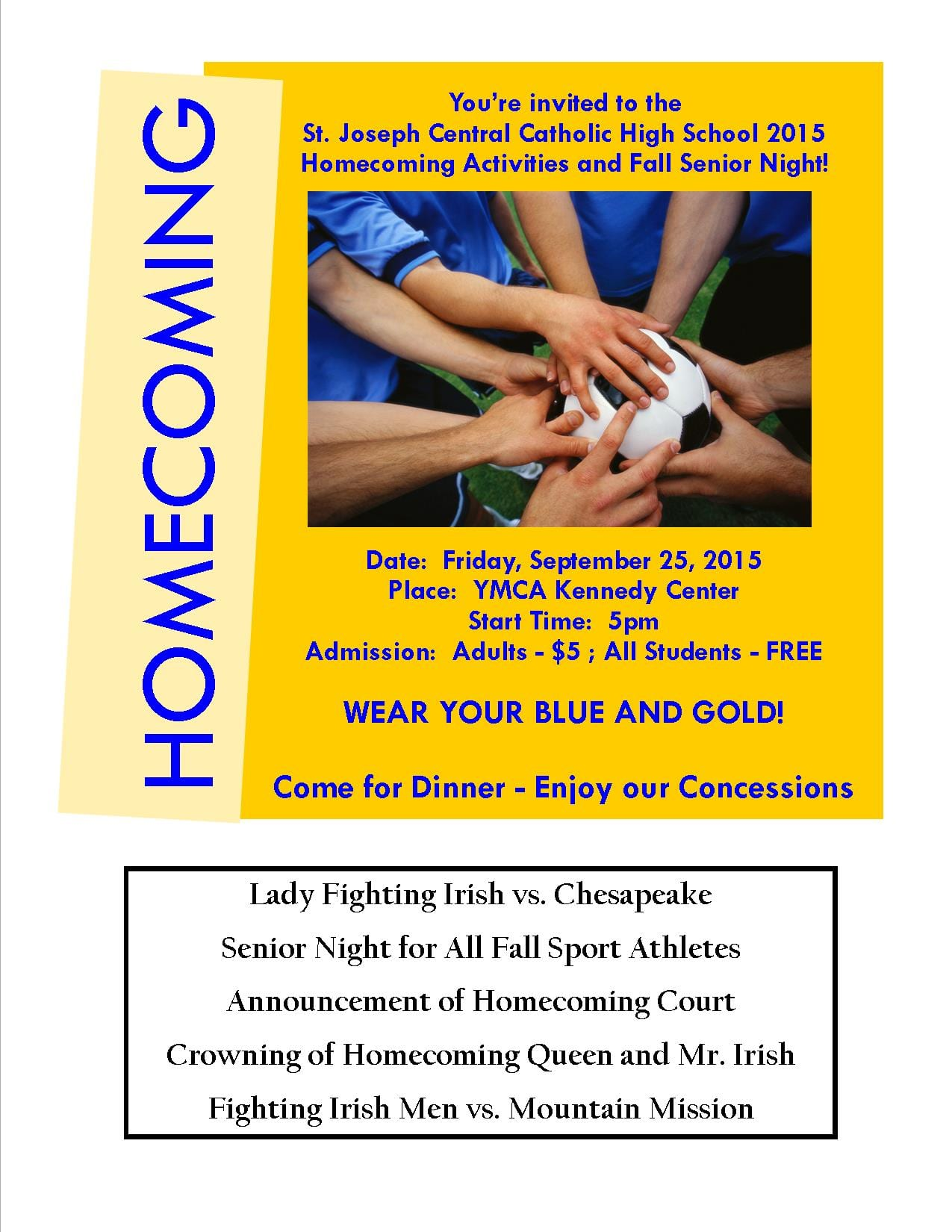 Youre Invited to Our 2015 Homecoming Festivities St Joseph